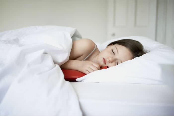 hot water bottle in bed