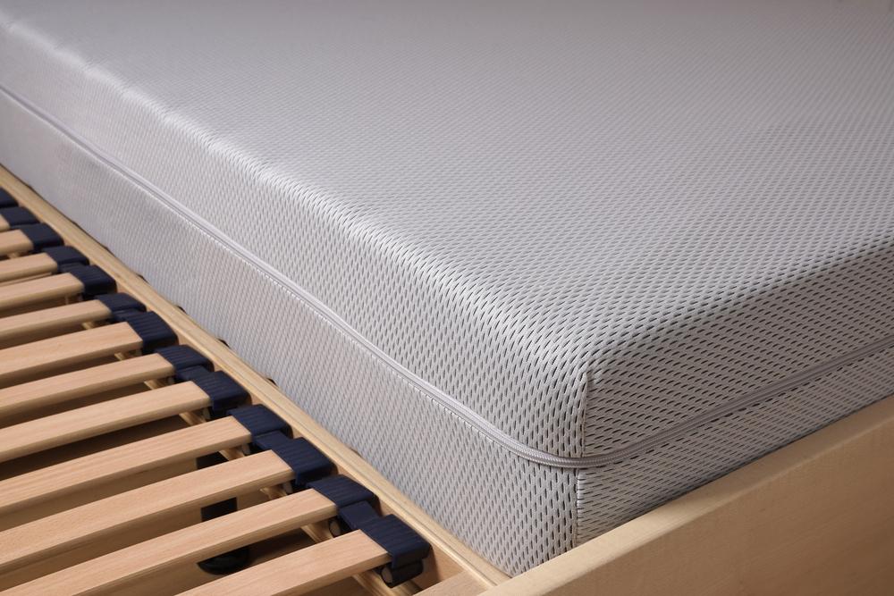 foam mattress on slatted frame